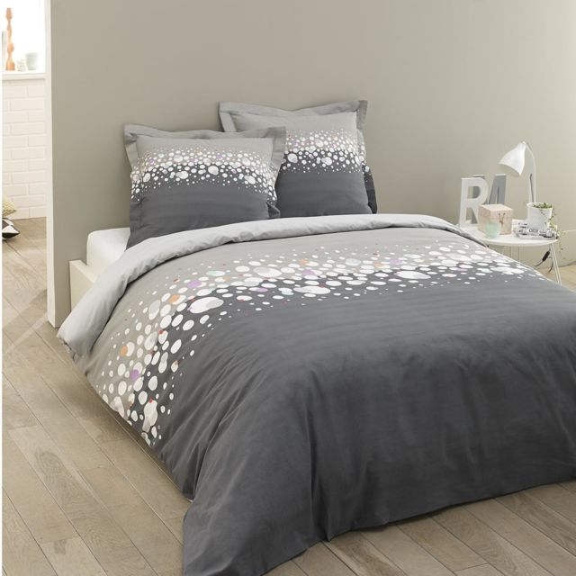 vision housse de couette 240x260 2 taies jules 100 coton 57 fils pas cher achat vente. Black Bedroom Furniture Sets. Home Design Ideas