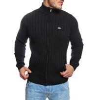 Lacoste - Gilet zippé homme noir en coton