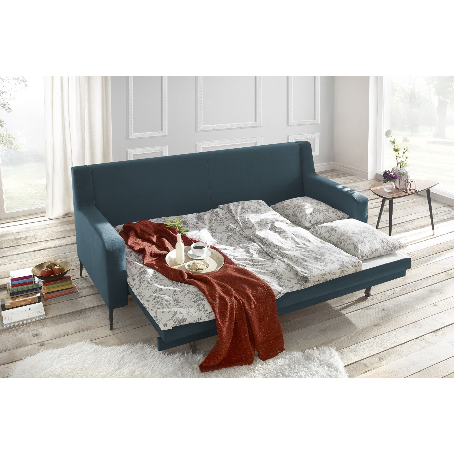 bobochic canap bergen 3 places convertible bleu canard 222cm x 90cm x 92cm achat. Black Bedroom Furniture Sets. Home Design Ideas