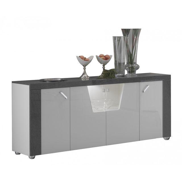 altobuy luna buffet 4 portes avec led pas cher achat vente buffets chiffonniers. Black Bedroom Furniture Sets. Home Design Ideas