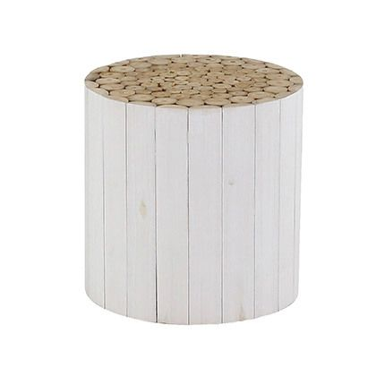 Table d'appoint en teck naturel + blanc - Alpaga