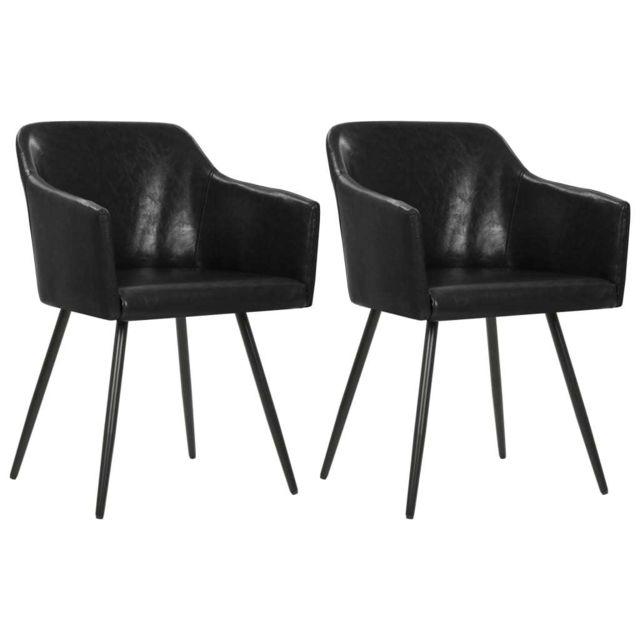 Chic Fauteuils et chaises ligne Prague Chaises de salle à manger 2 pcs Noir Similicuir