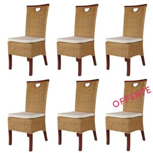 rotin design lot de 6 chaises racine miel en rotin pas cher achat vente chaises. Black Bedroom Furniture Sets. Home Design Ideas