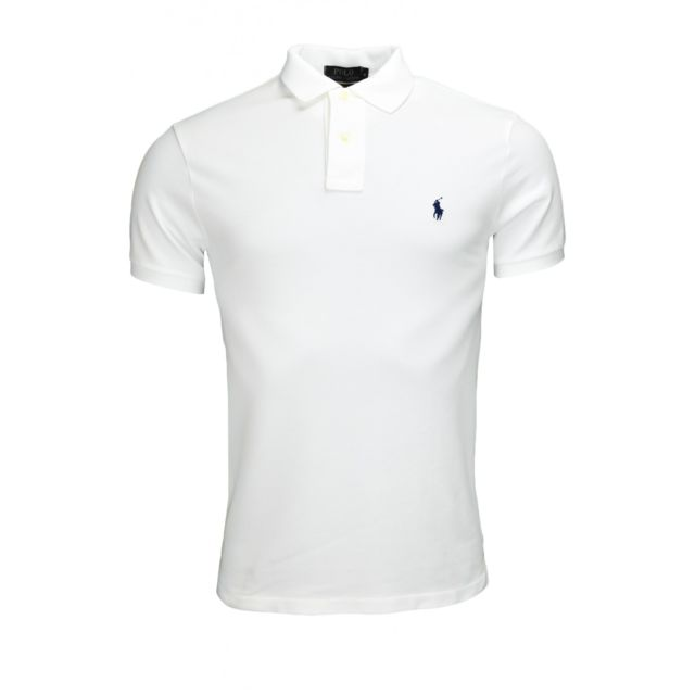 50b1c0fd7ab Ralph Lauren - Polo blanc slim fit 2 boutons pour homme - pas cher ...