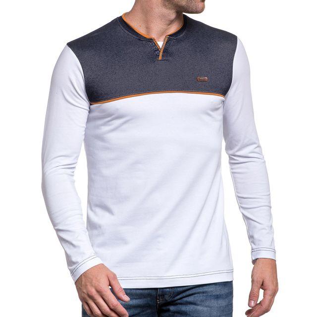 5be6989cae1 BLZ Jeans - Tee-shirt homme bi-matière blanc col V boutons fantaisie ...