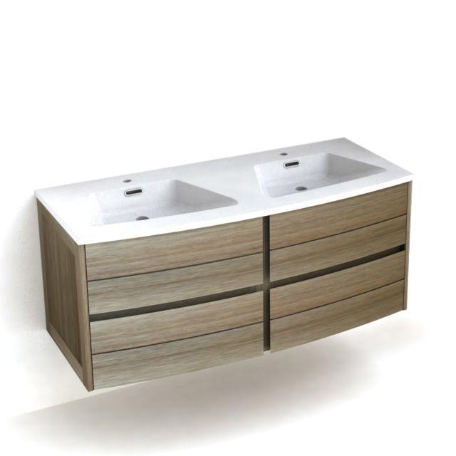 Meuble vasque bois avec 4 tiroirs longueur 120cm fairway - Meuble salle de bain avec vasque pas cher ...