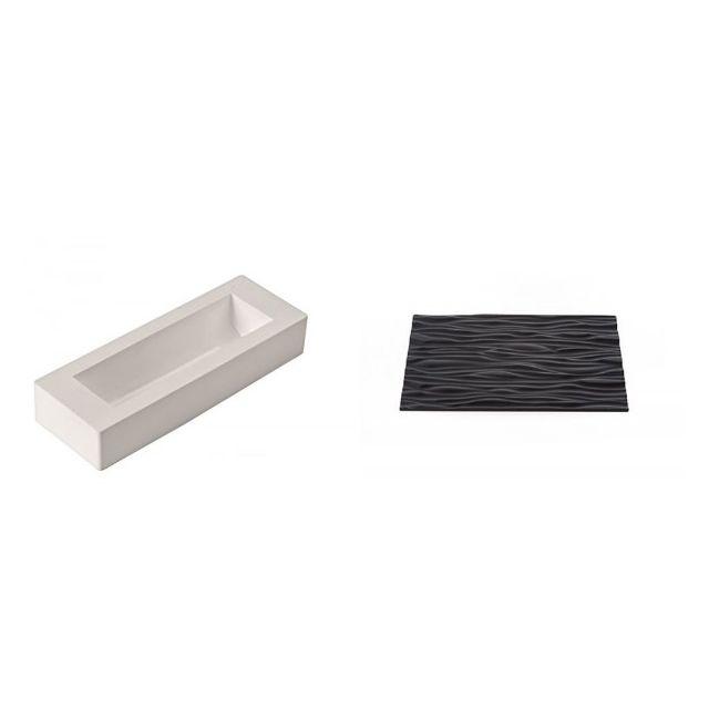 SILIKOMART - kit bûche wood silicone - 25.051.99.7360 blanc/noir - 25cm x 7cm x 9cm