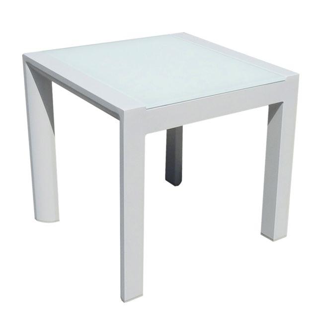 Table basse carrée alu blanc plateau verre blanc Léda