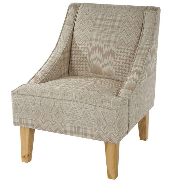 Mendler Fauteuil Malmö T371, fauteuil rembourré de salon, rétro, design des années 50 ~ beige/marron, tissu