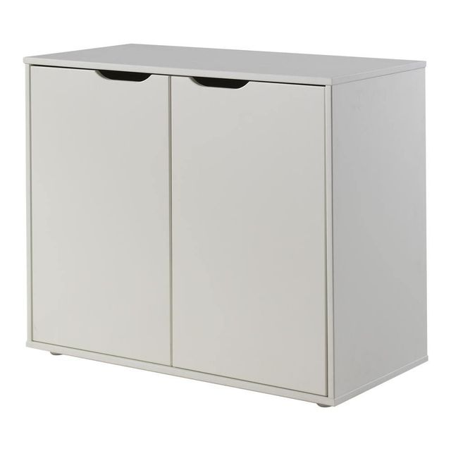 Comforium Commode 85 cm à 2 portes en pin massif coloris blanc