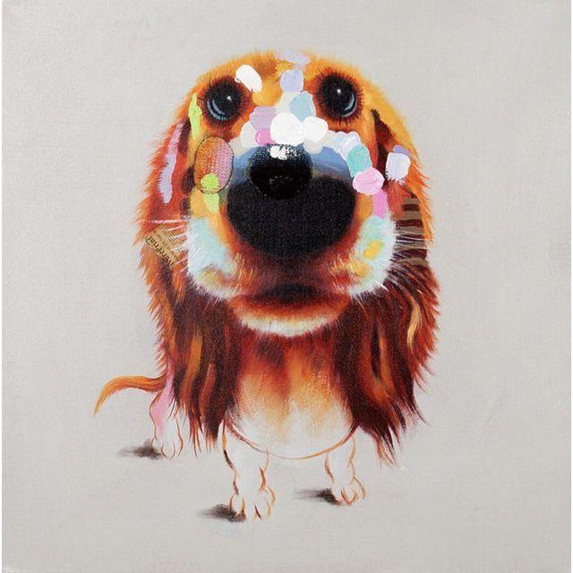 Comforium Tableau moderne en toile motif chien 80 cm