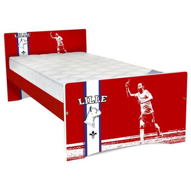 Abc Meubles Lit Enfant Football 90x190 Bois Lille 90cm X 190cm