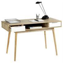 IDIMEX - Console NEWPORT table d'appoint style scandinave bureau 2 tiroirs mélaminé décor chêne sonoma et blanc mat