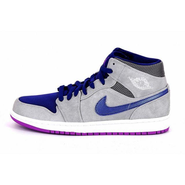 Nike - Basket Air Jordan 1 Mid - Ref. 554724-008 Gris - 40 1/2