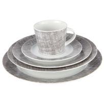 Cosy & Trendy - Service de table 20 pièces gris et blanc en porcelaine - Lino Grey