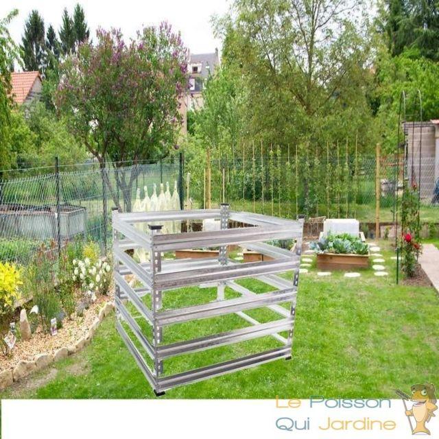 Le Poisson Qui Jardine Composteur De 720 Litres Pour Jardin, En Métal, Carré, 90 x 90 cm