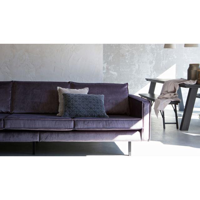 Bepurehome Canapé 3 places en velours gris anthracite, piètement en bois - Collection Rodéo