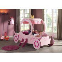 Lit carrosse de Princesse 90x200 cm coloris rose