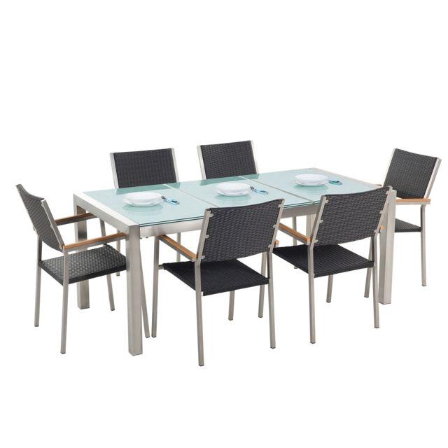 BELIANI Set de jardin en rotin avec plateau en verre et 6 chaises 180 cm GROSSETO - gris
