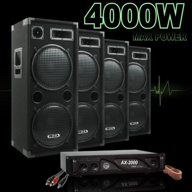 Ibiza Sound Pack 4000 avec 4 enceintes 1000w - 1 ampli 2000 w - cables hp - cable pc dj