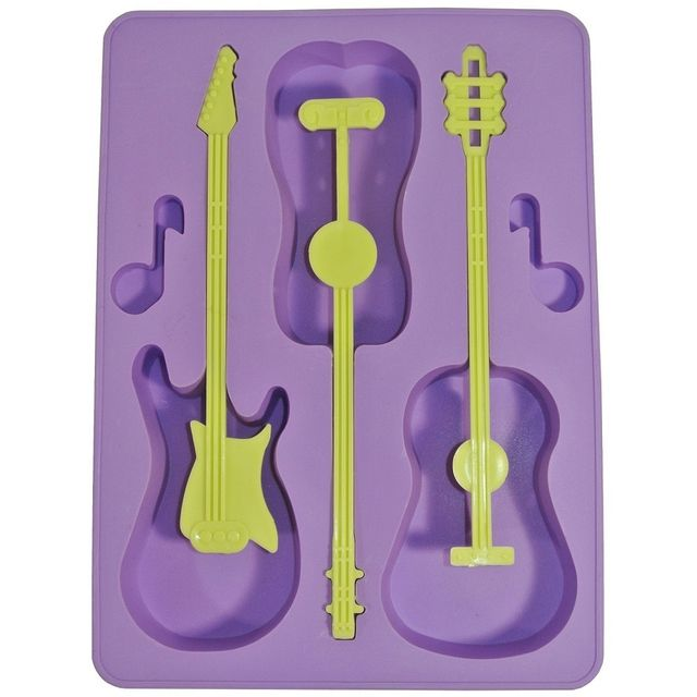 Promobo Moule Bac à Glaçons Silicone Deco Fun Guitare Violet