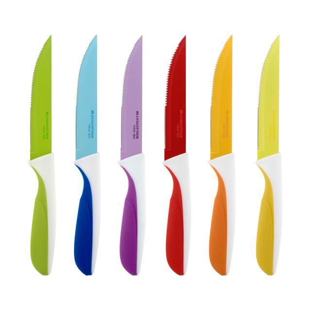 Bergner Set 6 couteaux à steak, acier inoxydable, Multicolore, 29 x 5 x 26 cm