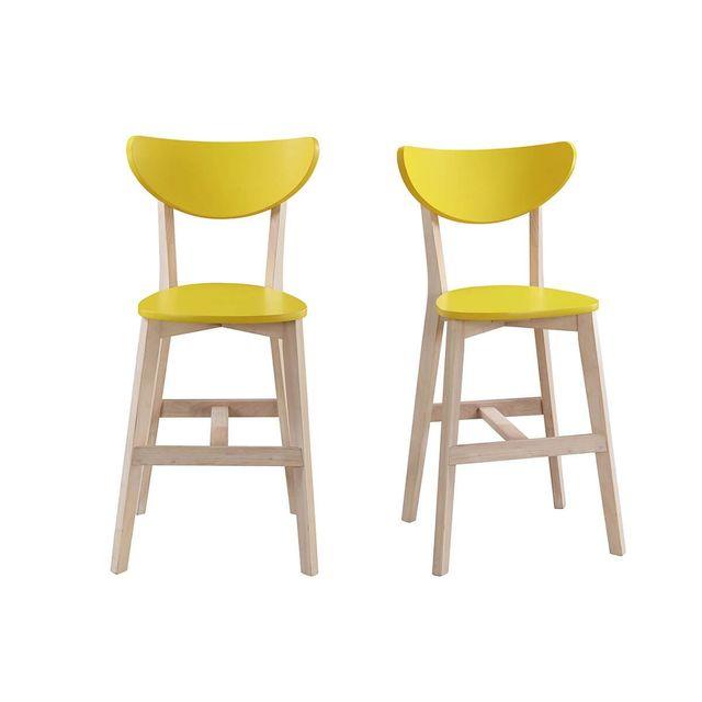 Miliboo - Tabourets de bar scandinave jaune et bois 65cm (lot de 2) Leena f40678bc344b
