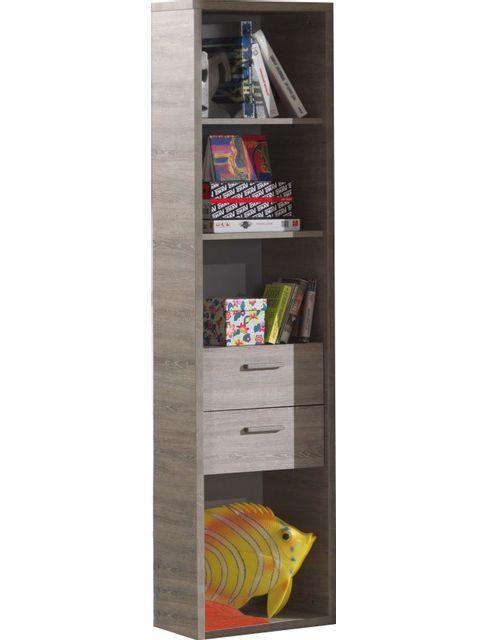 Comforium Bibliothèque de rangement contemporaine 52 cm avec 4 niches et 2 tiroirs coloris chêne gris