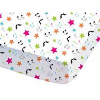 - Drap housse 100% coton multicolore étoiles/notes musique 90x190cm Chica Vampiro