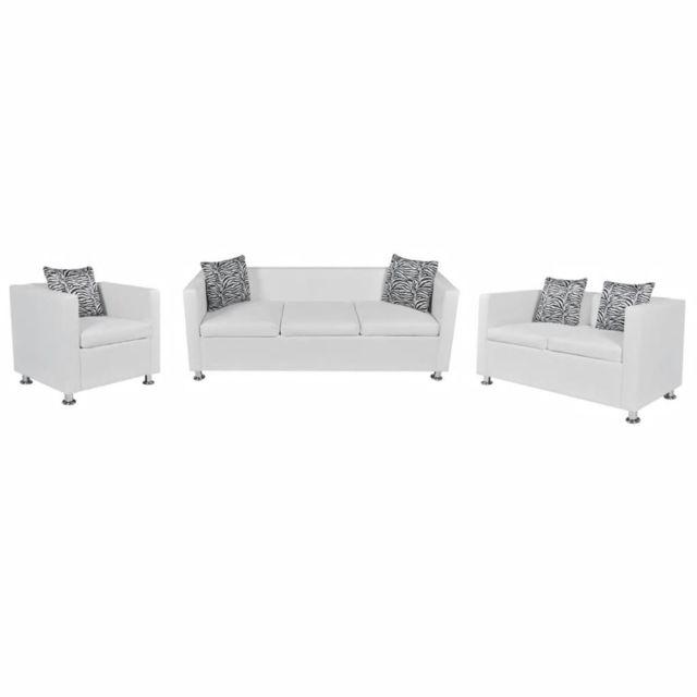 sublime Meubles serie Moroni Jeu de canapé à 2 places et à 3 places et fauteuil Blanc