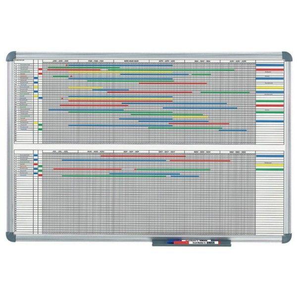 hebel tableau de planification annuelle 12 mois dimensions 120 x 90 cm gris - Planning Travaux Maison Individuelle