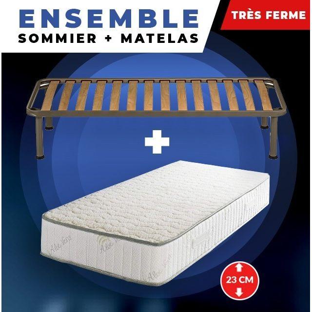 King Of Dreams Matelas + Sommier + pieds Offerts 70x190 Mousse Poli Lattex Indéformable - 23 cm - Très Ferme