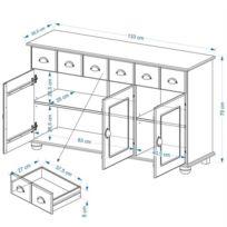 Buffet COLMAR commode bahut vaisselier rangement avec 3 tiroirs et 3 portes battantes en pin massif finition teintée/cirée