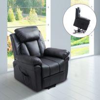 HOMCOM - Fauteuil de relaxation électrique fauteuil releveur inclinable avec repose-pied ajustable simili cuir noir neuf 13BK