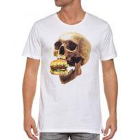 French Kick - Tee-shirt blanc homme tête de mort hamburger