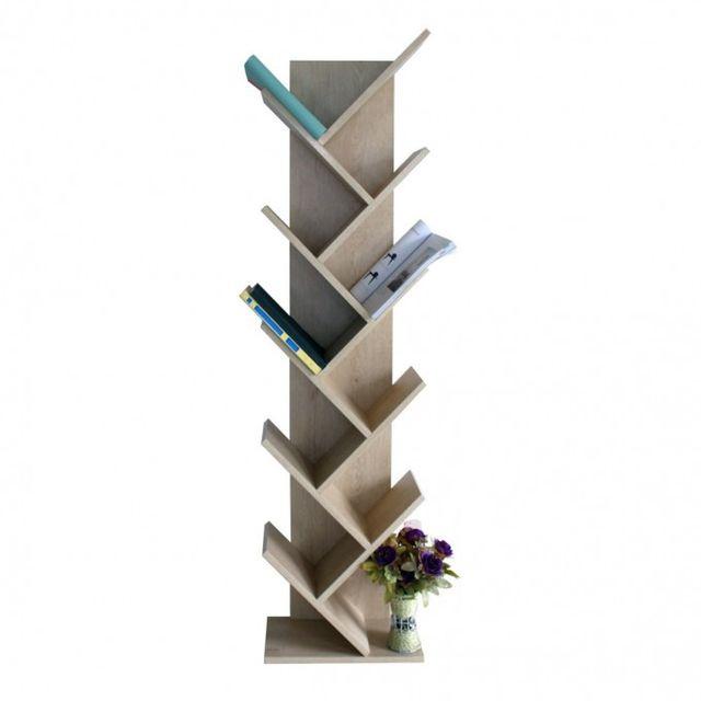 Mobili Rebecca Etageres Bibliotheque Bois Brun Clair Design