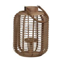 Pomax - Lanterne ovale en bambou et verre avec anse en corde Archi