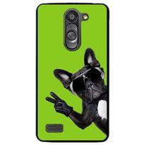 Kabiloo - Coque rigide noire pour Lg L Bello avec impression Motifs chien à lunettes sur fond vert