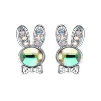 Blue Pearls - Boucles d'oreilles Lapin en Cristal de Swarovski Elements Vert et Plaqué Rhodium - Cry E333 J