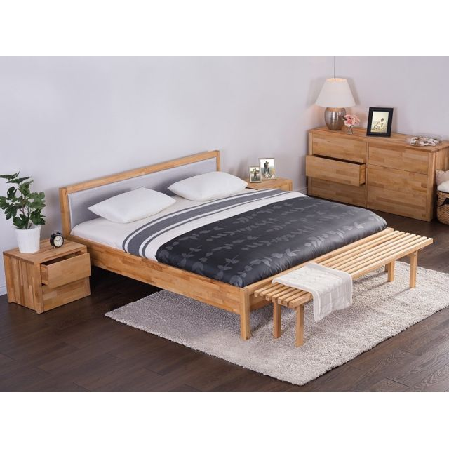 beliani lit design en bois lit double 180x200 cm gris sommier inclus carris pas cher. Black Bedroom Furniture Sets. Home Design Ideas