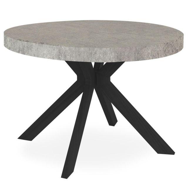 MENZZO Table ronde extensible Myriade Noir et Effet Béton