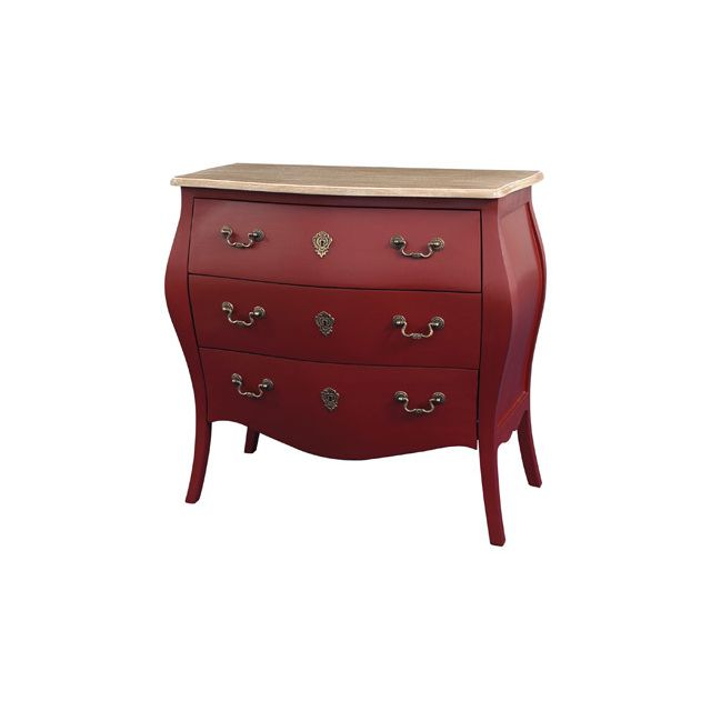 Commode 3 tiroirs rouge