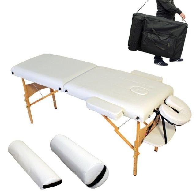 helloshop26 table de massage pliante 7 5 cm paisseur confort blanc 2008004 pas cher achat. Black Bedroom Furniture Sets. Home Design Ideas