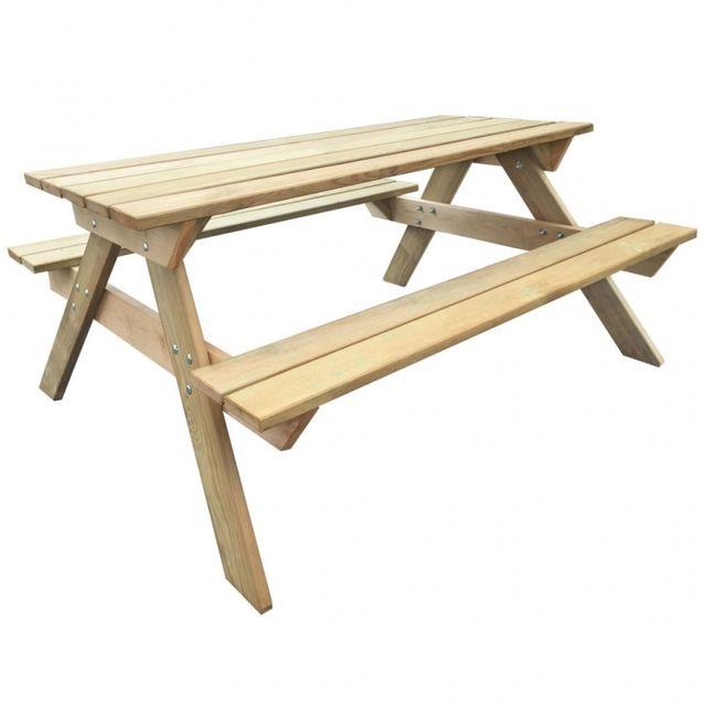 Casasmart Table pour pique-nique en bois de pin
