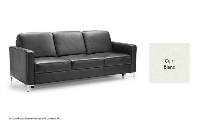 Ims Canape Design Classique En Cuir 3 Places Basic Blanc Achat
