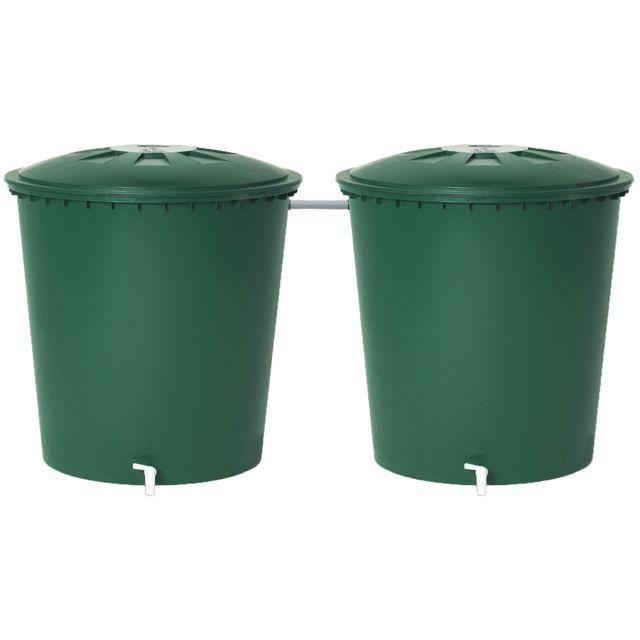 Kit De 2 Cuves De Récupération Deau De Pluie 510 Litres Vert
