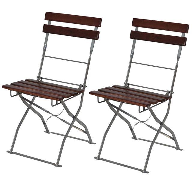 Mendler 2x chaise de kiosque à bière Berlin, pliant, acacia huilé ~ marron foncé