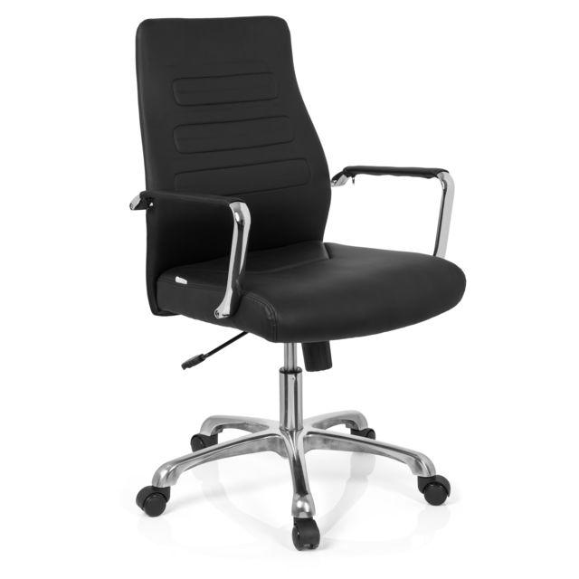 Chaise de bureau Chaise pivotante Tewa simili cuir noir