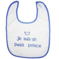 King Bear - Bavoir je suis un petit prince Blanc bleu