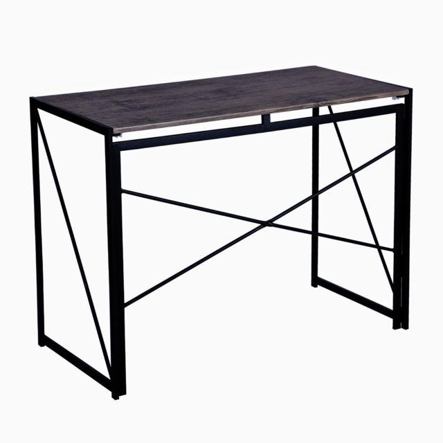 Capsull Design Bureau Industriel pliable bois et metal noir